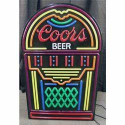 Coors Plastic Neon in shape of a jukebox