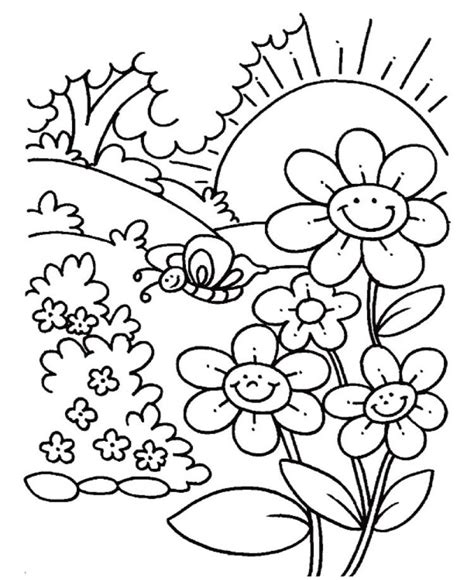 outdoors school  spring coloring pages flower