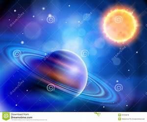 Sun & Saturn stock vector. Image of meteor, glow ...
