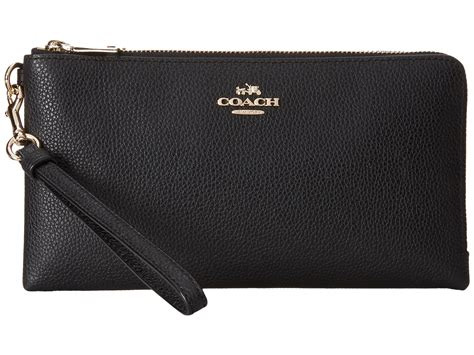 lyst coach polished pebbled leather double zip wallet