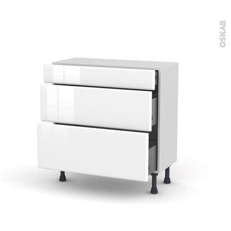 casserolier cuisine meuble de cuisine casserolier iris blanc 3 tiroirs l80 x
