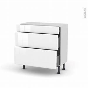 Meuble Cuisine Blanc : meuble de cuisine casserolier iris blanc 3 tiroirs l80 x ~ Edinachiropracticcenter.com Idées de Décoration
