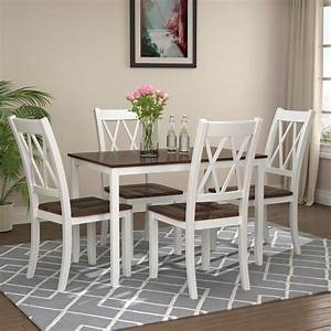 5, Piece, Dining, Table, Set, Square, Kitchen, Table, With, 4, Chairs, Compact, Dining, Room, Set, Wood, Home