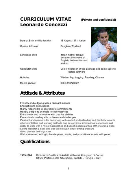 Curriculum Vitae For Sous Chef by Cv Leonardo Concezzi 2012
