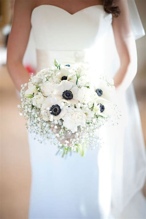 White Anemone And Gypsophila Bouquet Alex And Charlotte