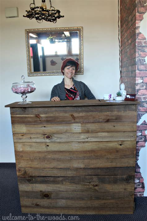 reclaimed wood reception desk reclaimed barn wood reception desk redo welcome to the woods 4536