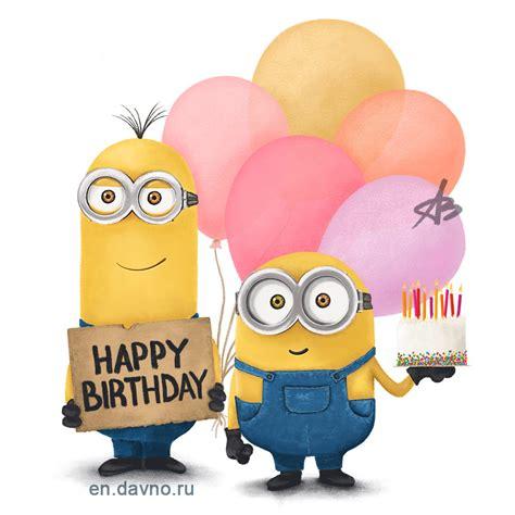 custom hand drawn minions card  birthday cake