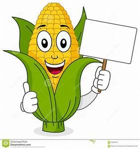 Corn Cob Character Holding Blank Banner Stock Vector ...