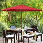 add patio umbrellas to your outdoor sitting areas to