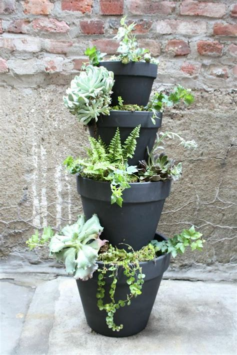 tiered planter ideas    easily   clay pots