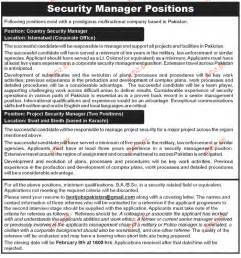 hotel security description resume country security manager opportunity 2017 pakistan jobz pk