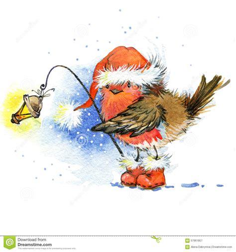 christmas bird  christmas background watercolor
