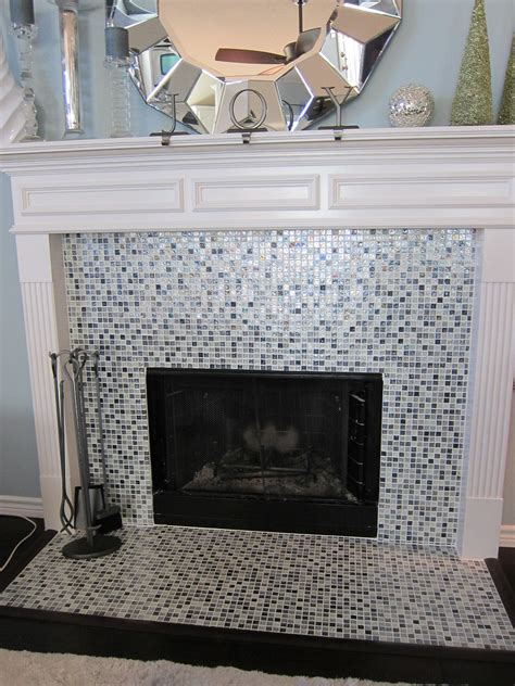 fireplace remodel  glass tile fort worth removed