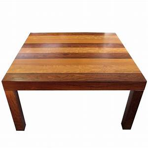 modern parsons square coffee table in strips of wood With square parsons coffee table