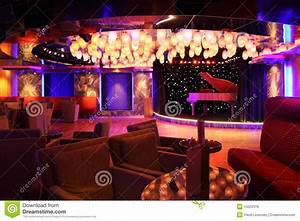 Grand Piano At Concert Stage In Restaurant Stock Photo ...