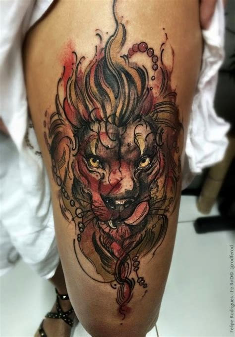 illustrative style colored thigh tattoo  lion head