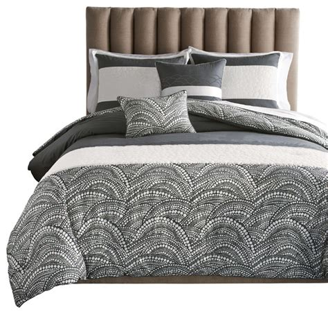 newport 6 pc charcoal gray full comforter set with