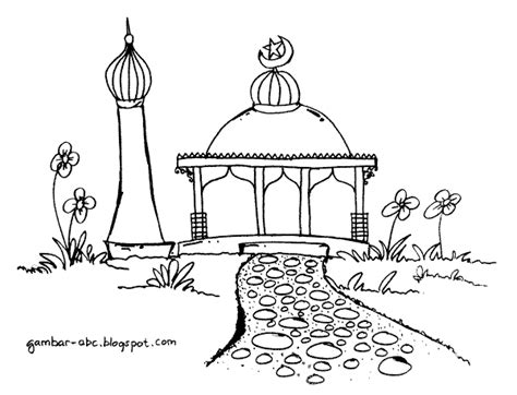gambar mewarnai masjid ornamente