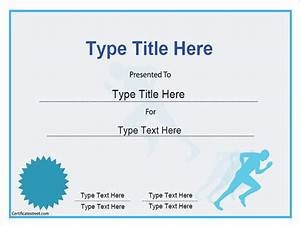 sports certificate achievement in running With running certificates templates free