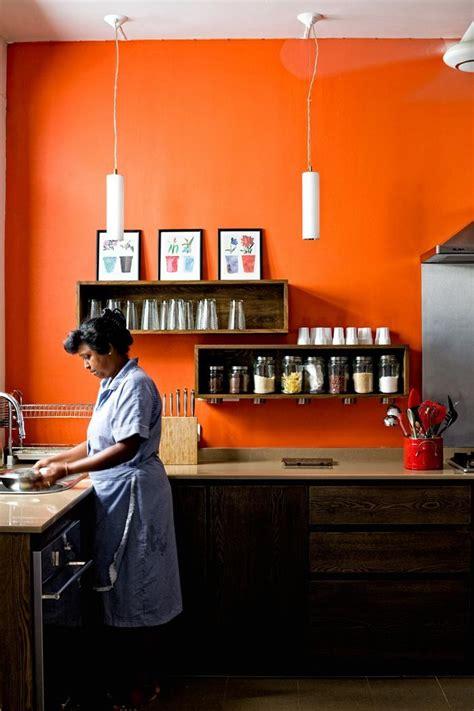 orange accent wall kitchen home pinterest orange