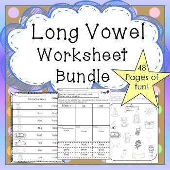 long vowel worksheets  prep literacy centers bundle