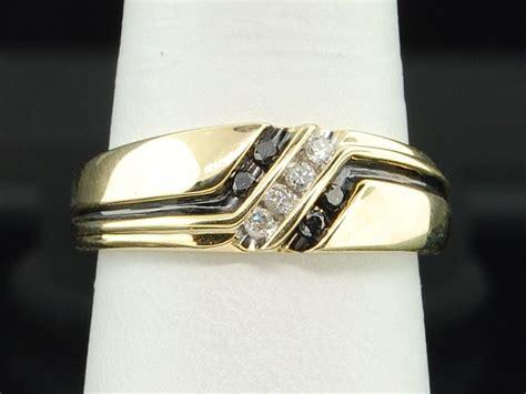 Mens 10k Yellow Gold 4 Stone Black & White Diamond