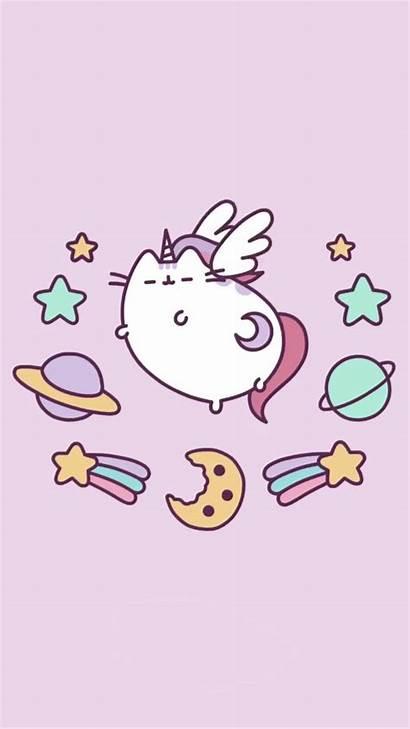Pusheen Unicorn Kawaii Galaxy Cat Iphone Wallpapers