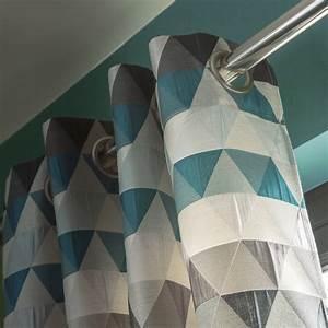 Rideau Blanc Et Bleu : rideau tamisant triangles bleu p trole x cm leroy merlin ~ Teatrodelosmanantiales.com Idées de Décoration