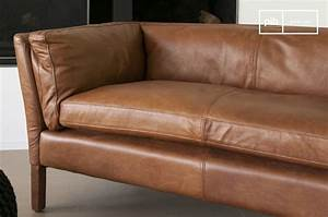 Canapé Vintage Cuir : canap cuir hamar style vintage au design scandinave pib ~ Teatrodelosmanantiales.com Idées de Décoration