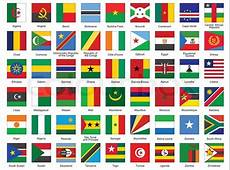 Set of square icons with African flags Stock Vector