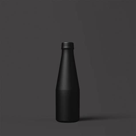 Matt bottle mockup in a symmetrical presentation set right in its middle with corresponding shadows at 5000 x 3750 pixels resolution. Free Elegant Matte Black Bottle Mockup in PSD - DesignHooks