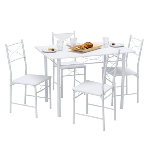 table cuisine blanc table de cuisine 4 chaises métal bois blanc combo port