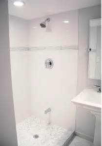 Kohler Memoirs Pedestal Sink by Subway Tile Shower Contemporary Bathroom Benjamin