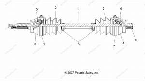Polaris Atv 2008 Oem Parts Diagram For Drive Train  Front Drive Shaft
