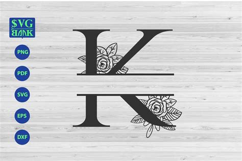 split monogram letter  svg alphabet floral initial logo   cut files design bundles