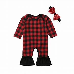 Christmas Newborn Baby Girls Red Cute Romper Cotton Black ...