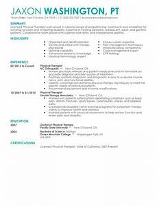 physical therapist resume example medical sample resumes With physical therapists resume search