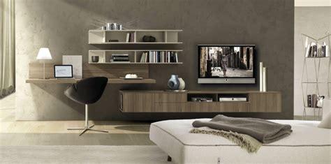 bureau meuble tv coin bureau en bois massif murs gris taupe meuble télé