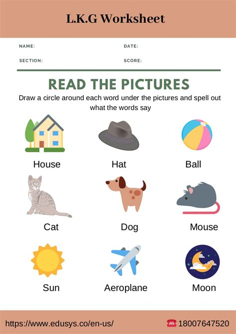 kindergarten english worksheet