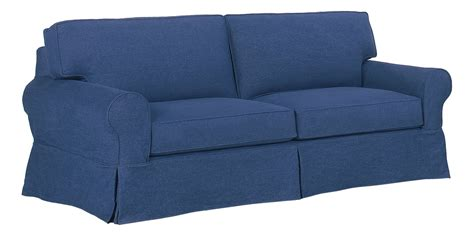 slip covered sofas denim slipcovered sofa with chaise ottoman furniture