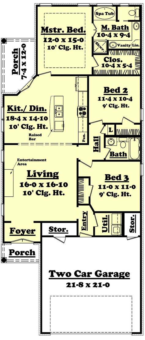 Bungalow House Plan 3 Bedrms 2 Baths 1400 Sq Ft
