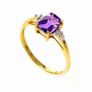 Rings 10K Yellow Gold Amethyst & Diamond Ring LC1-01115A ...