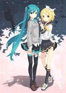 Vocaloid Hatsune Miku and Rin Kagamine