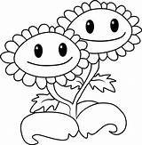 Zombies Coloring Sunflower Plants Vs Twin Printable Pages Smiling Disney Coloringpages101 Description sketch template