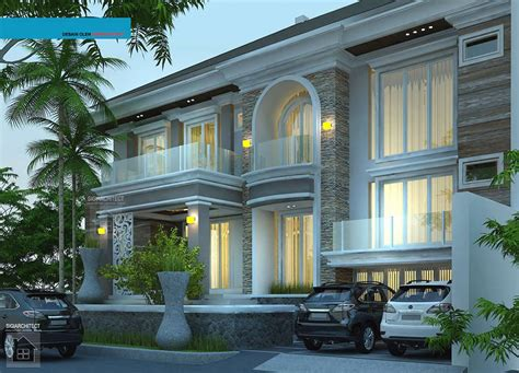 desain rumah mewah mediteran  lantai semybasement rumah