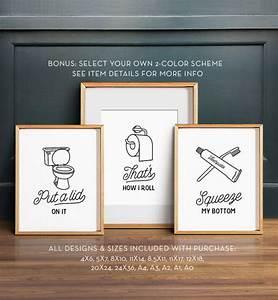 Funny wall art bathroom printable set of