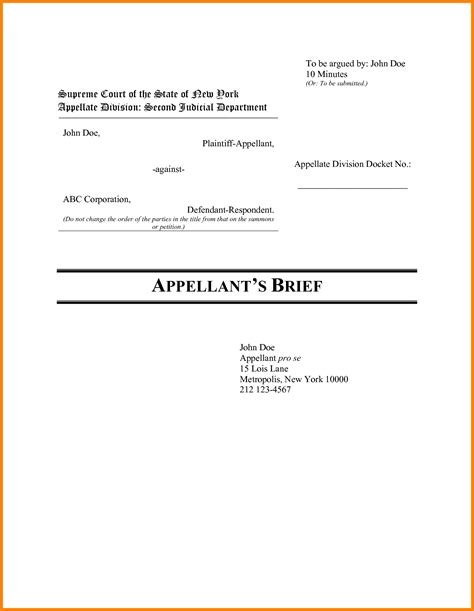 appellate brief template appellate brief cover page