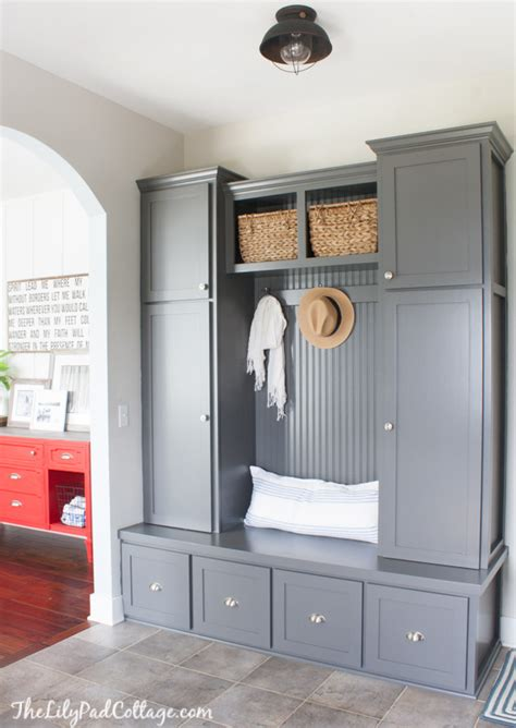 Grey Mudroom Cabinets  The Lilypad Cottage. Black And White Couch. Elmwood Cabinets. Rustic Chair. How Much To Add A Bathroom. Ceramic Utensil Holder. French Bathroom. Painting Stained Trim. Tallboy Dresser