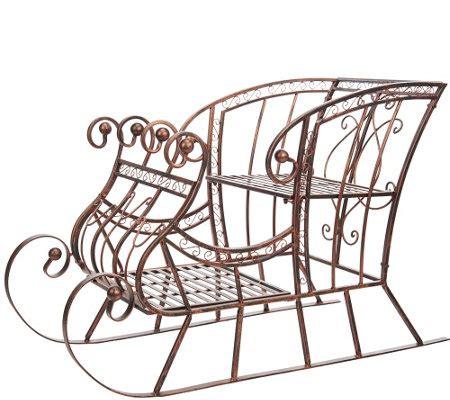 plow hearth indoor outdoor metal decorative sleigh qvc com