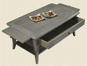 Table Basse Chene Blanchi : table basse rectangulaire 100x60 collection lisa en ch ne de style directoire finition chene ~ Melissatoandfro.com Idées de Décoration